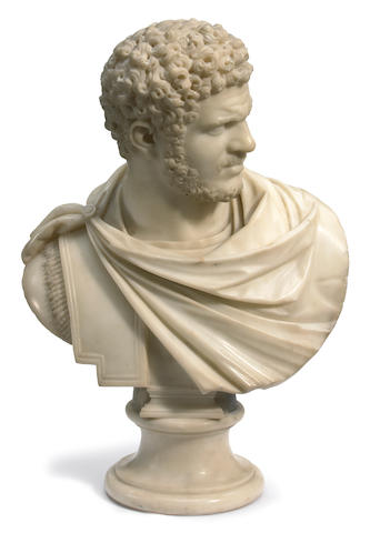 An Italian carved marble bust of a Roman emperor <BR />19th century