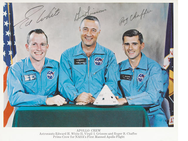 Signed photo of Apollo 1 astronauts (Chaffee, Grissom, White)