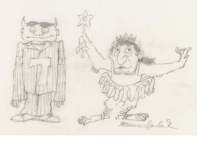 "SENDAK, MAURICE. 1928-2012. ""Six and Seven,"" pencil drawing, 217 x 280 mm, signed lower right,"