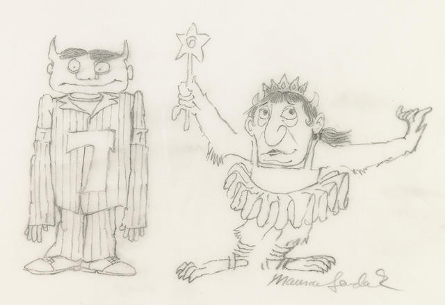 """SENDAK, MAURICE. 1928-2012. """"Six and Seven,"""" pencil drawing, 217 x 280 mm, signed lower right,"""