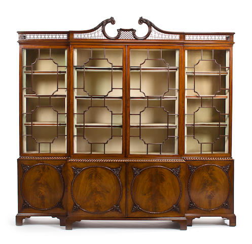 A George III carved mahogany breakfront bookcase attributed to William Vile third quarter 18th century