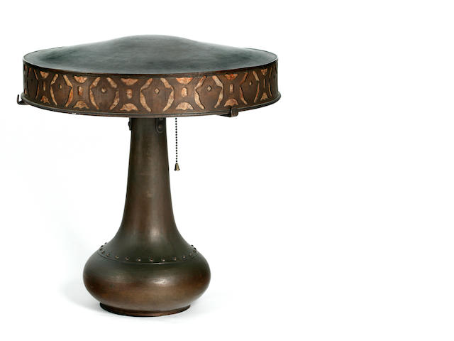 A Dirk Van Erp hammered copper and mica table lamp post 1915
