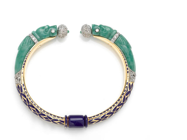 An art deco jadeite jade, enamel and diamond bangle bracelet, French,