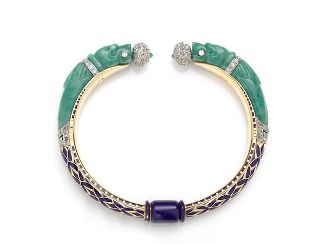 An art deco jadeite jade, enamel and diamond bangle bracelet, French,