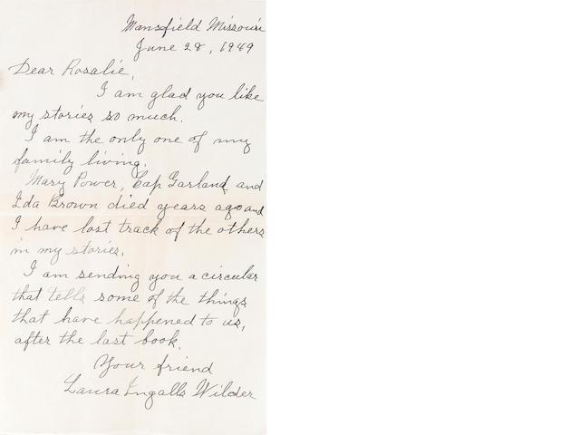 "WILDER, LAURA INGALLS. 1867-1957. Autograph Letter Signed (""Laura Ingalls Wilder""), 1 p, 8vo, Mansfield, MO, June 28, 1949,"