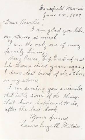 "WILDER, LAURA INGALLS. 1867-1957. Autograph Letter Signed (""Laura Ingalls Wilder""), 1 p, 8vo, Mansfield, MO, June 28, 1949,"