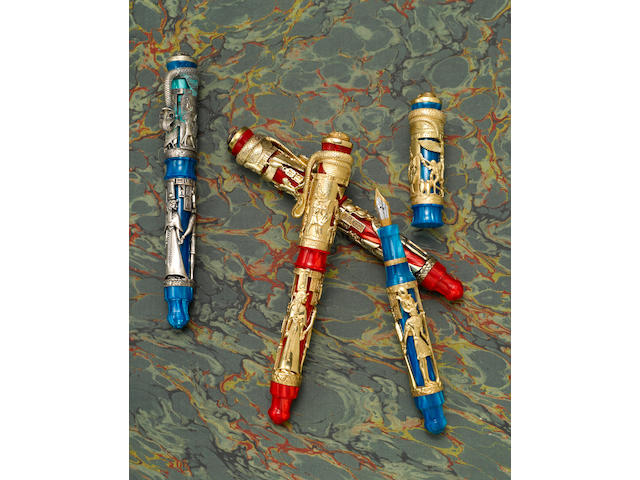 MONTEGRAPPA: Luxor Blue Nile & Luxor Red Sea: Set of 4 Limited Edition Fountain Pens in Gold, Silver & Vermeil