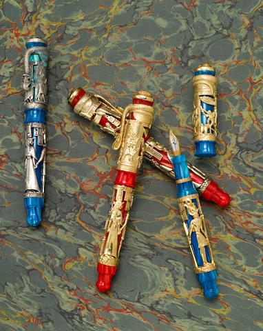 MONTEGRAPPA: Blue Nile & Luxor Red Sea: Set of 4 Limited Edition Fountain Pens in Gold, Silver & Vermeil