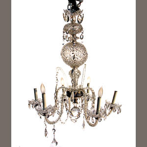 A  Rococo style six light glass chandelier. Waterford. mid 20th century