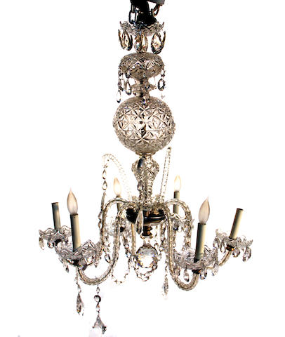 A  Rococo style six light glass chandelier<BR />Waterford<BR />mid 20th century