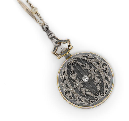 A diamond, enamel and eighteen karat gold openface pendant watch with fourteen karat white gold and glass bead chain, retailed by Bailey, Banks & Biddle,