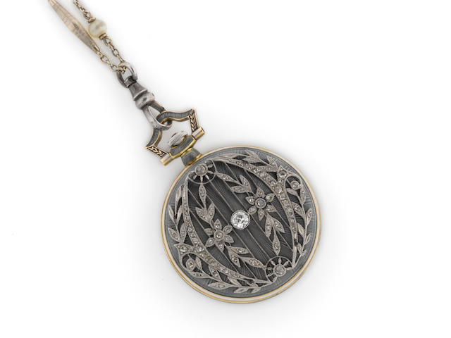 A diamond, enamel and eighteen karat gold openface pendant watch with silver chain, retailed by Bailey, Banks & Biddle,