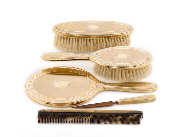 A fourteen karat gold vanity set, Tiffany & Co.