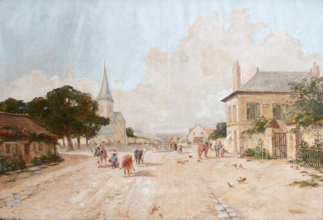 French School A town scene 35 1/2 x 51 1/2in