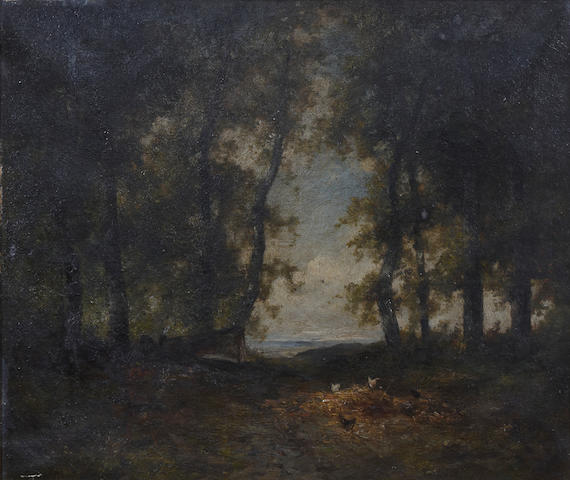 Follower of Patrick Nasmyth (Scottish, 1787-1831) A wooded landscape with chickens in a clearing 20 x 24in