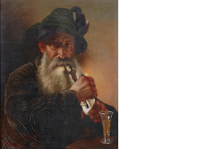 Manner of Franz von Defregger A portrait of a bearded man smoking a pipe 22 x 17in