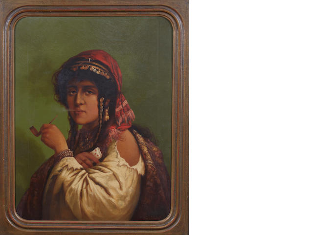 Joe Schmied A gypsy woman smoking a pipe 26 x 19in