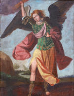 Spanish Colonial School A portrait of an Archangel; also a companion portrait (a pair) each 26 x 20in
