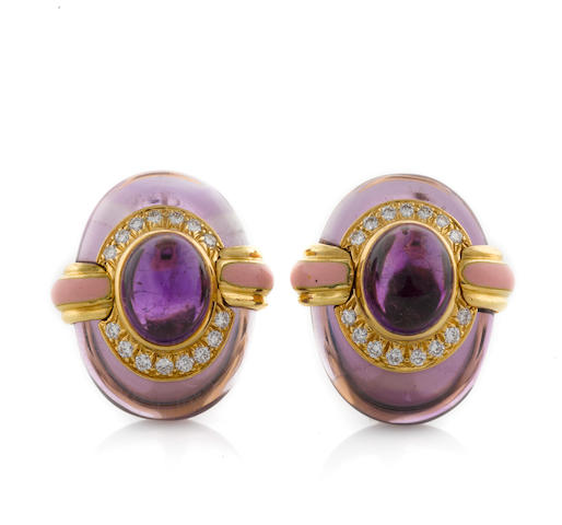 A pair of amethyst, diamond and enamel earclips, David Webb