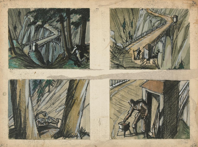 4 storyboards from For Whom the Bell Tolls (1943). From the Estate of John Link, the film's editor and possibly the 2nd unit director.