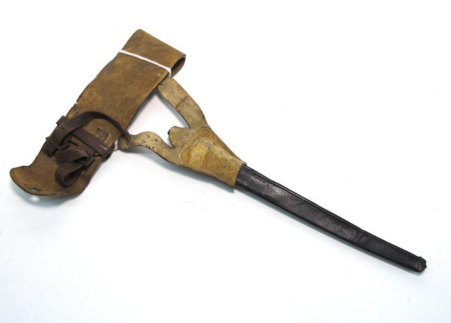 An early American militia waistbelt with frog and bayonet scabbard