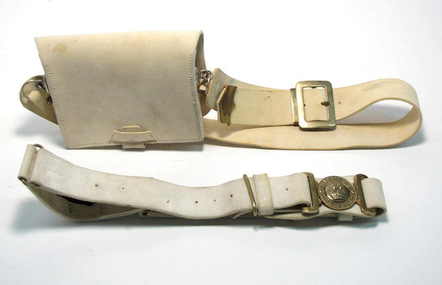 A British military buff leather waist belt and cartridge box with shoulder belt