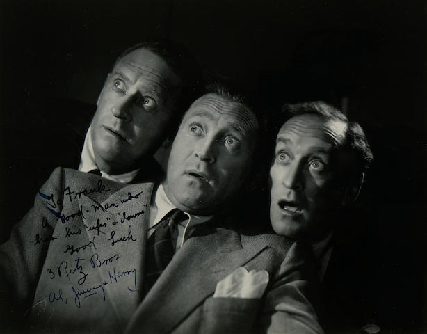 Gelatin silver prints signed by Al Jolson, Ritz Bros and Nigel Bruce