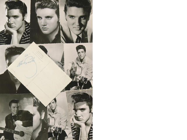 A collection of Elvis Presley postcards, one signed on the verso, 1950s-1960s