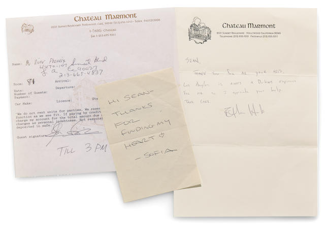 Documents signed by River Phoenix, Keanu Reeves, Ethan Hawke and many others, from the Chateau Marmont in West Hollywood, 1993-2000