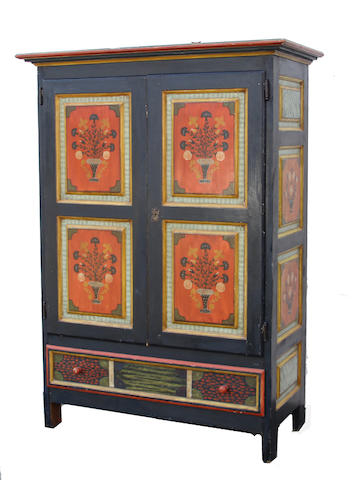 A Swedish polychrome decorated armoire mid 19th century