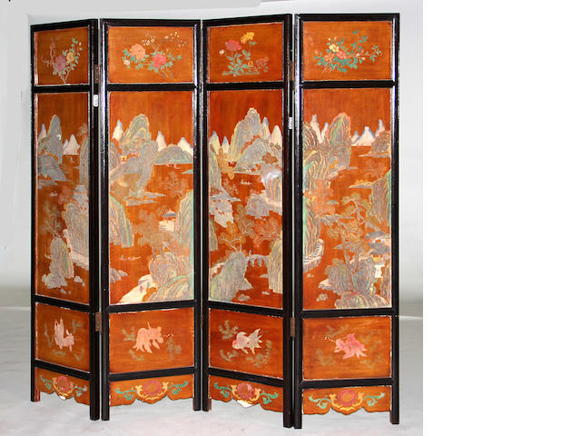 A Chinese coromandel four-panel floor screen