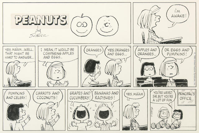 A Charles Schulz Peanuts Sunday page