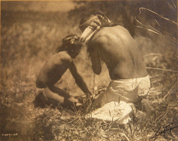 Edward S. Curtis (American, 1868-1952); The Fire Drill - Apache, from The North American Indian; (3)