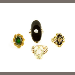 A collection of gem-set and gold rings