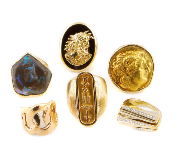 A collection of diamond, stone and gold jewelry