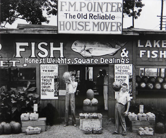 Dorothea Lange (American, 1895-1965); Walker Evans (American, 1903-1975) Gas Station, Kern County, California; Roadside Stand Near Birmingham, Alabama; (2)