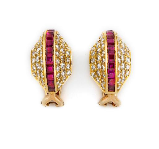 A pair of diamond and ruby half-hoop earclips