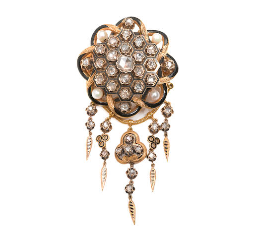 An antique diamond, enamel and cultured pearl brooch, French,