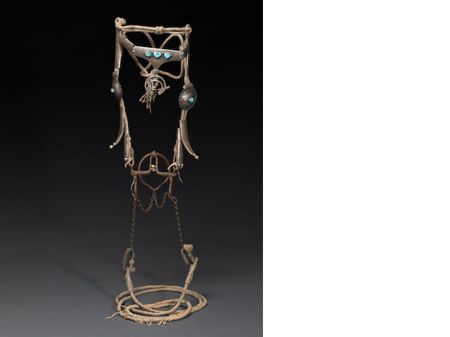 A Navajo silver bridle