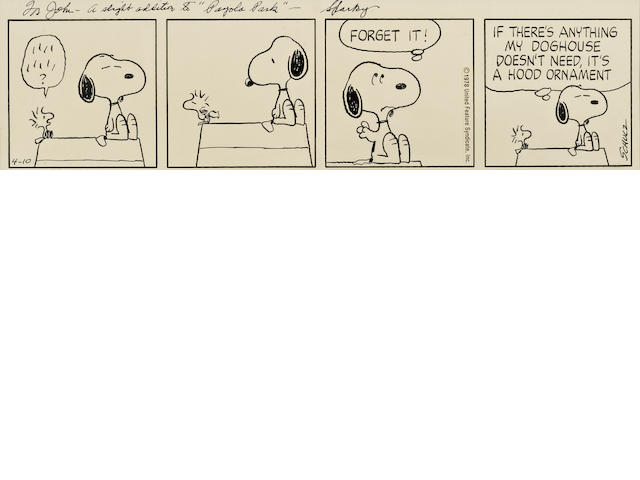 SCHULZ, CHARLES. 1922-2000. Original 4-panel comic strip,  pen and ink on stiff paper,