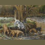 Reuben Ward Binks (British, 1880-1940) Group of four Otterhounds at river edge
