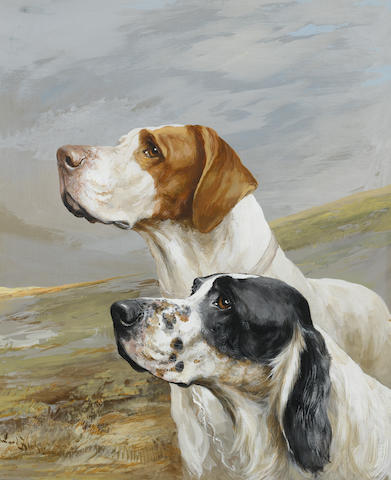 Reuben Ward Binks (British, 1880-1950) English Setter and Pointer 16 1/2 x 13 in. (42 x 33 cm.)