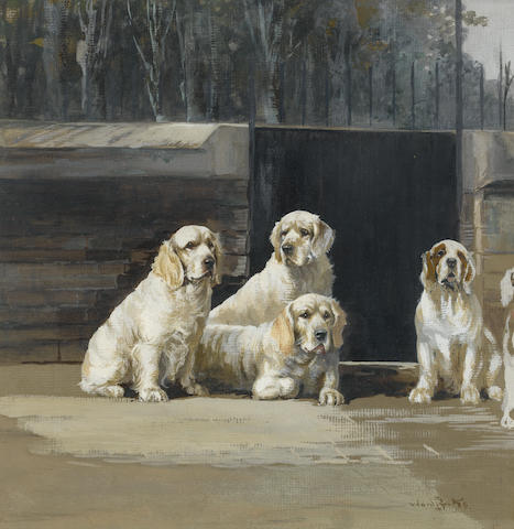 Reuben Ward Binks (British, 1880-1950) King George V Clumber Spaniels at Sandringham 14 1/8 x 13 1/2 in. (36 x 34.5 cm.)