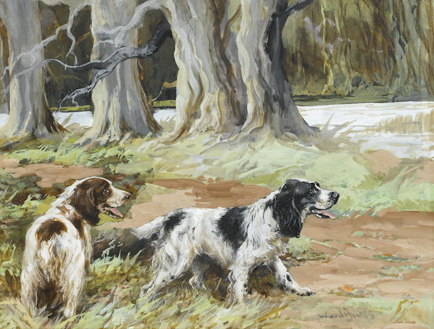 Reuben Ward Binks (British, 1880-1950) Spaniels waiting events 9 3/4 x 12 3/4 in. (25 x 32.5 cm.)