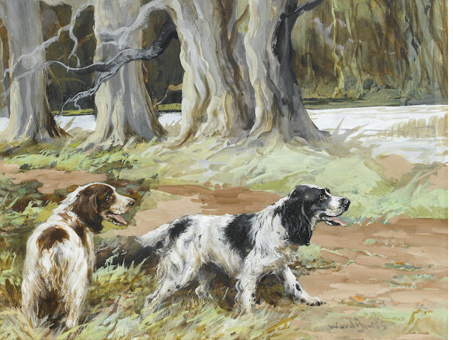Reuben Ward Binks (British, 1880-1940) Spaniels waiting events