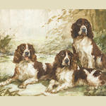 Reuben Ward Binks (British, 1880-1940) Three Springer Spaniels