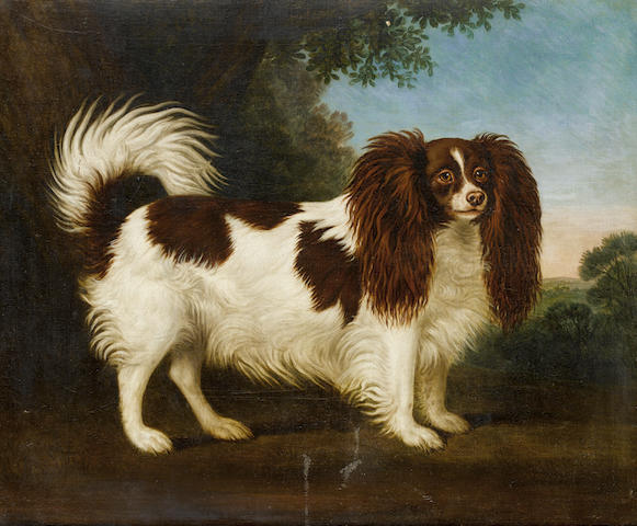English School, 19th century Spaniel in a landscape 24 3/8 x 29 1/8 in. (62 x 74 cm.)