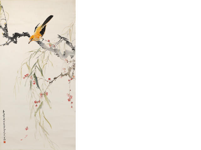 Zhao Shaoang (Chao Shao-an, 1905-1998) Bird and spring flowers