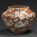 An Acoma four-color bird jar