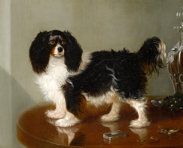 George Cole (British, 1810-1885) A King Charles Spaniel and still life